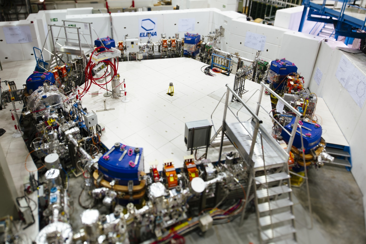 """ELENA storage ring where antiprotons are decelerated to lowest energies"""" Image credit: CERN."""