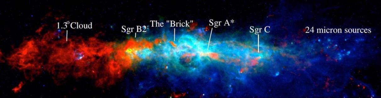 A three-color image of the Milky Way's central molecular zone in dense molecular gas (red), far infrared (green) and near infrared (blue); major regions are labeled. Astronomers have produced a new catalog of the densest, star-forming cores across the region.