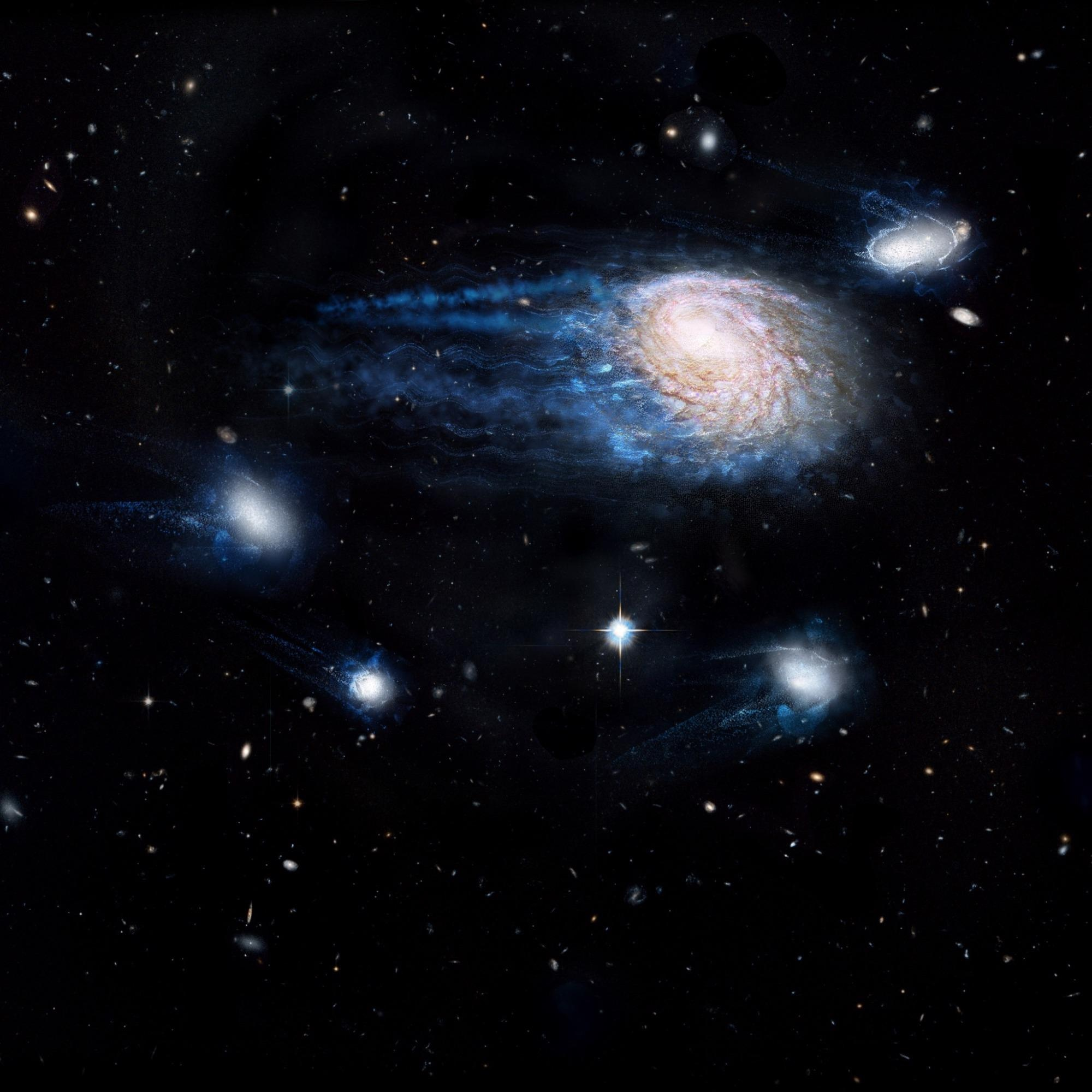 An artist's impression showing the increasing effect of ram-pressure stripping in removing gas from galaxies, sending them to an early death.