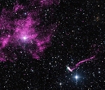 Fast-Moving, Jet-Producing Pulsar Escapes From Supernova Remnant